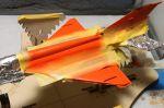 Bild - Tamiya H14 Orange på plats. Nu förstår ni kanske varför jag inte sparar på maskeringstejp, blir det överspray så är kamouflaget förstört. Allt gick dock vägen som planerat.